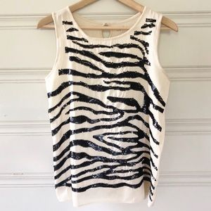 Loft S Small Sequin Zebra Tank Black, Cream, Ivory
